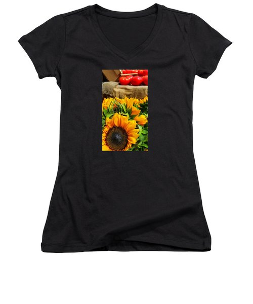 Women's V-Neck T-Shirt (Junior Cut) featuring the photograph Sun Flowers And Tomatoes by Bruce Carpenter