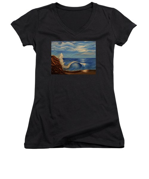 Women's V-Neck T-Shirt (Junior Cut) featuring the mixed media Sun Over The Ocean by Angela Stout