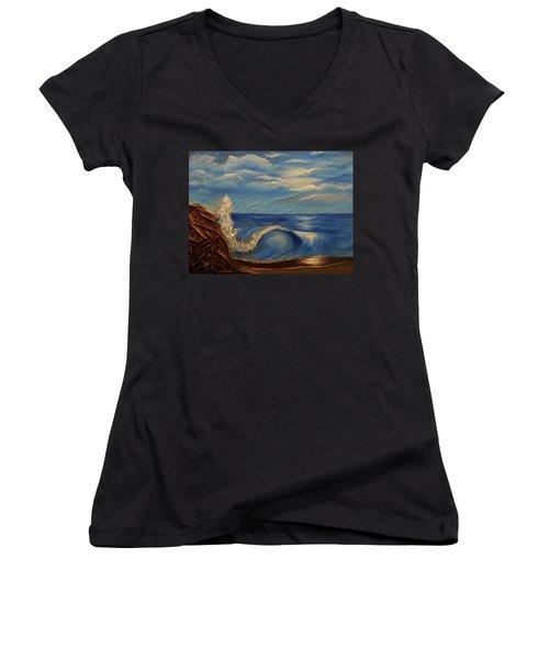 Sun Over The Ocean Women's V-Neck T-Shirt (Junior Cut)