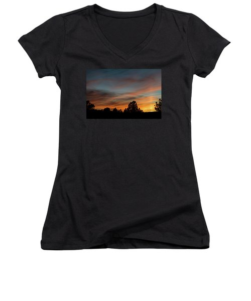 Sun Pillar Sunset Women's V-Neck T-Shirt (Junior Cut) by Jason Coward