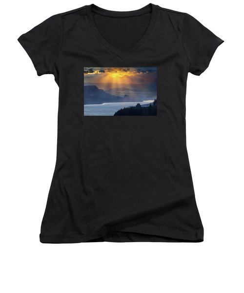 Sun Rays Over Columbia River Gorge During Sunrise Women's V-Neck (Athletic Fit)