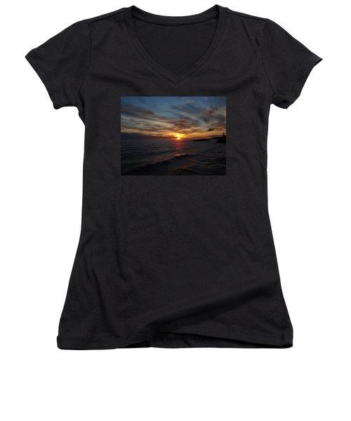 Women's V-Neck T-Shirt (Junior Cut) featuring the photograph Sun Up by Bonfire Photography