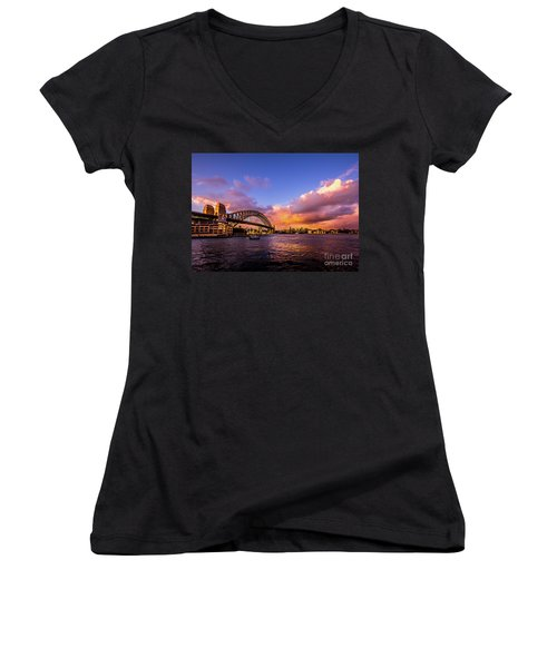 Women's V-Neck T-Shirt (Junior Cut) featuring the photograph Sun Up by Perry Webster
