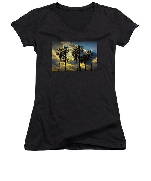 Women's V-Neck T-Shirt (Junior Cut) featuring the photograph Sunbeams And Palm Trees By Cabrillo Beach by Randall Nyhof