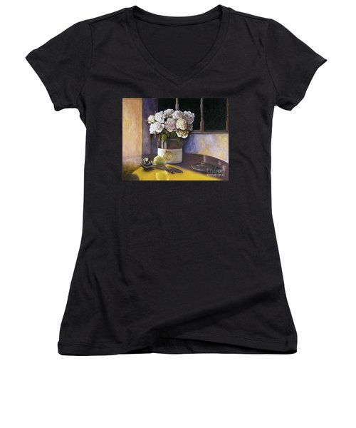 Women's V-Neck T-Shirt (Junior Cut) featuring the painting Sunday Morning And Roses Redux by Marlene Book