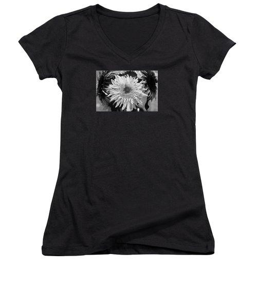 Sunflower 1 Women's V-Neck T-Shirt (Junior Cut) by Simone Ochrym