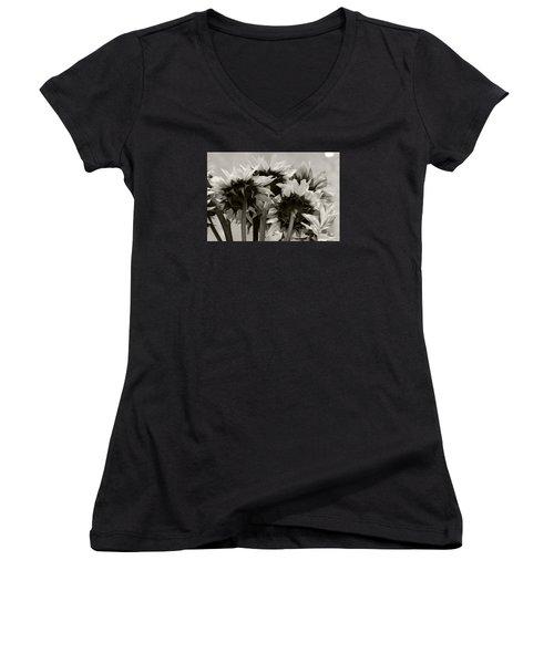 Sunflower 3 Women's V-Neck T-Shirt (Junior Cut) by Simone Ochrym