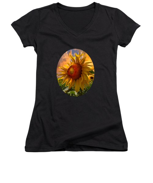Women's V-Neck T-Shirt (Junior Cut) featuring the photograph Sunflower Dawn In Oval by Debra and Dave Vanderlaan