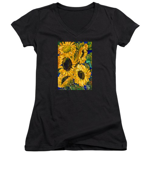 Sunflower Faces Women's V-Neck (Athletic Fit)