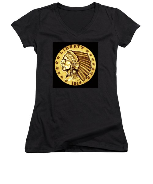 Sunflower Gold Quarter Eagle Women's V-Neck T-Shirt (Junior Cut) by Fred Larucci