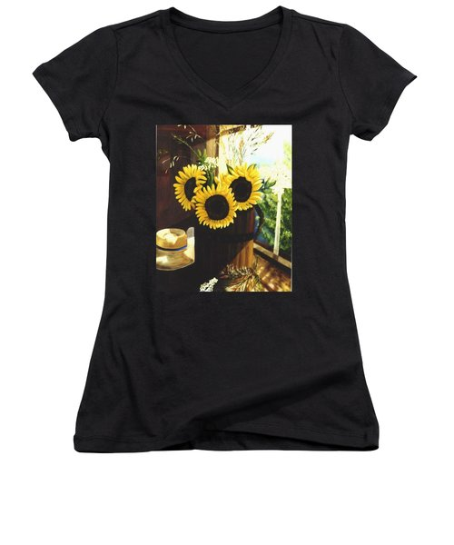 Women's V-Neck T-Shirt (Junior Cut) featuring the painting Sunflower Sill by Renate Nadi Wesley