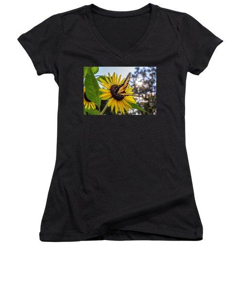 Sunflower Swallowtail Women's V-Neck