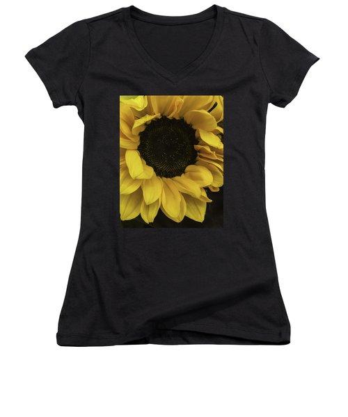 Sunflower Up Close Women's V-Neck T-Shirt (Junior Cut) by Arlene Carmel
