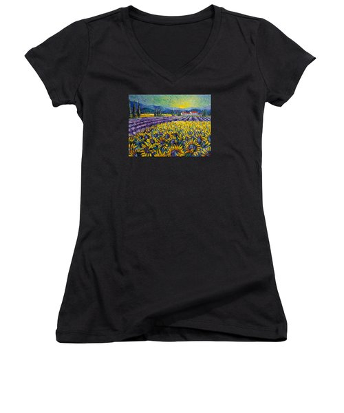 Sunflowers And Lavender Field - The Colors Of Provence Modern Impressionist Palette Knife Painting Women's V-Neck (Athletic Fit)