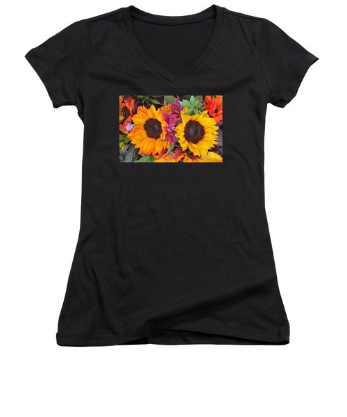 Sunflowers Eyes Women's V-Neck T-Shirt (Junior Cut) by Jasna Gopic