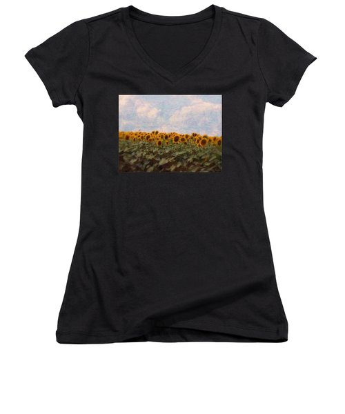 Sunflowers Women's V-Neck T-Shirt (Junior Cut) by Robin Regan