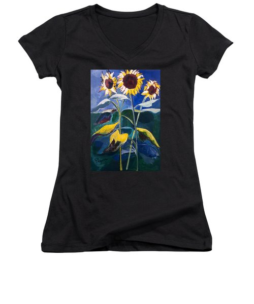 Sunflowers Standing Tall Women's V-Neck T-Shirt (Junior Cut) by Betty Pieper