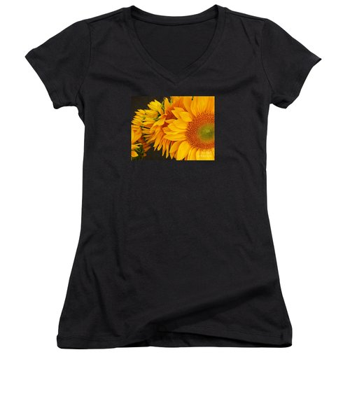 Sunflowers Train Women's V-Neck T-Shirt (Junior Cut) by Jasna Gopic
