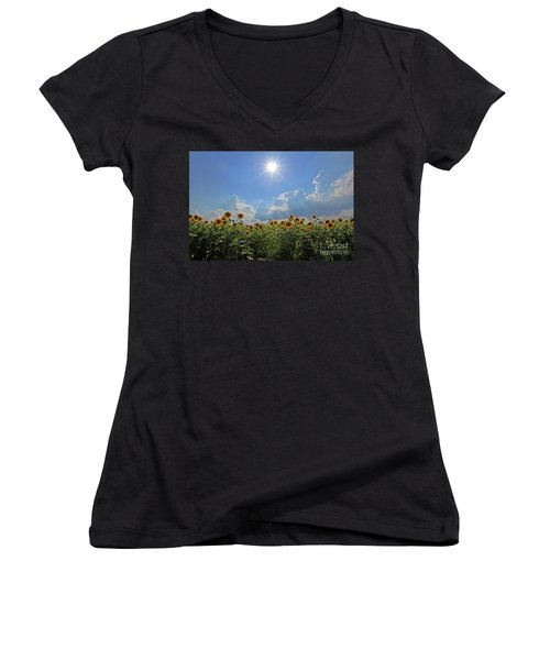 Sunflowers With Sun And Clouds 1 Women's V-Neck