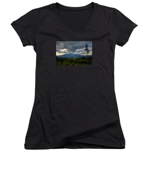 Sunlight On Katahdin Women's V-Neck (Athletic Fit)