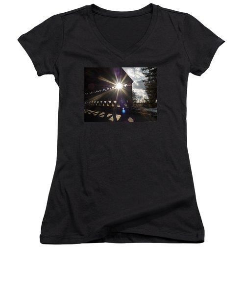 Sunlight Through Sachs Covered Bridge  Women's V-Neck T-Shirt