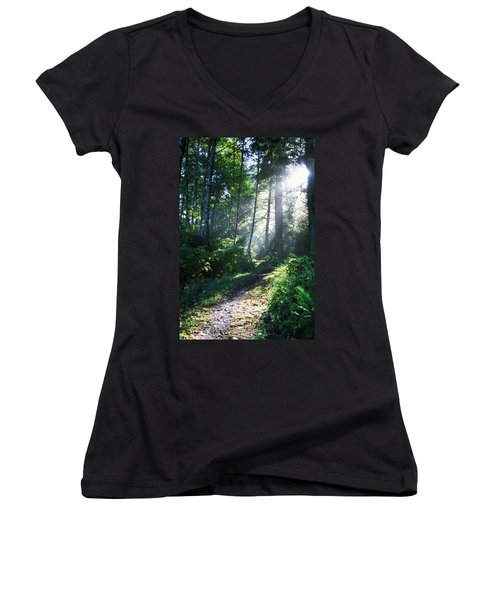 Sunlight Through Trees, Ecola State Women's V-Neck (Athletic Fit)
