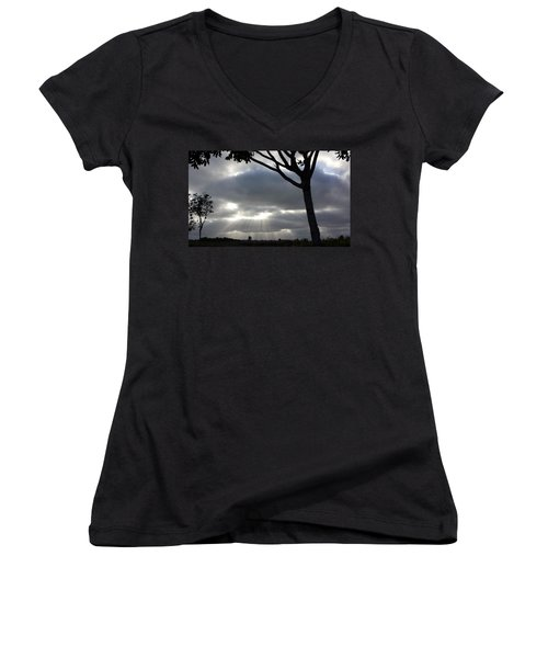 Sunlit Gray Clouds At Otay Ranch Women's V-Neck T-Shirt (Junior Cut) by Karen J Shine