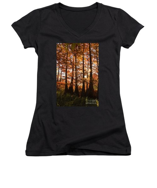 Women's V-Neck T-Shirt (Junior Cut) featuring the photograph Sunlit Trees At Lake Murray by Tamyra Ayles