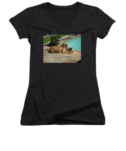 Sunning Women's V-Neck T-Shirt (Junior Cut) by Val Oconnor