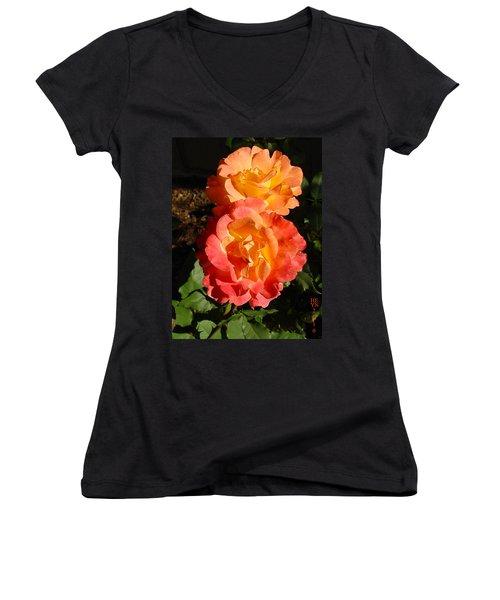 Sunny Roses Women's V-Neck (Athletic Fit)