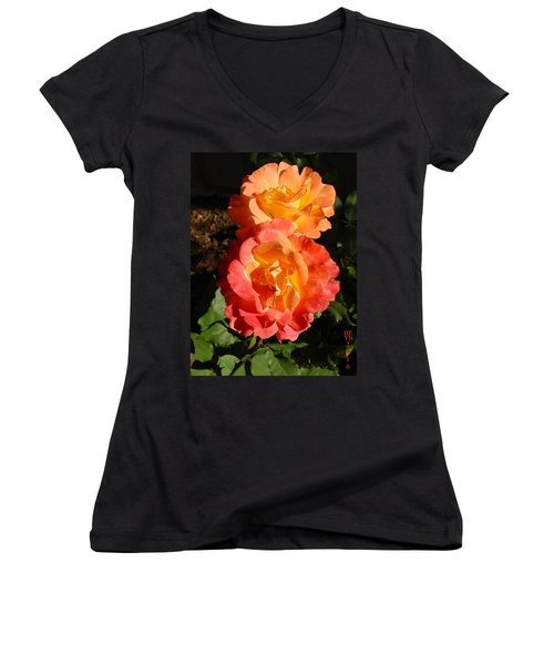 Sunny Roses Women's V-Neck (Athletic Fit)