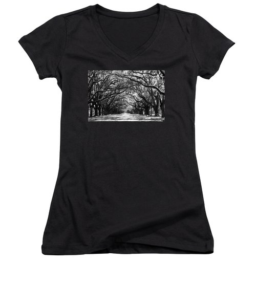 Sunny Southern Day - Black And White Women's V-Neck T-Shirt