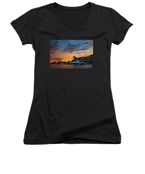 Sunrays Sunset Over Huntington Harbour Women's V-Neck (Athletic Fit)