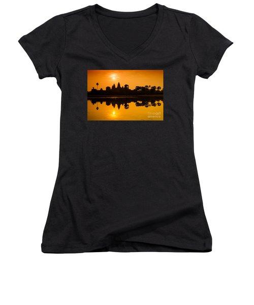 Sunrise At Angkor Wat Women's V-Neck T-Shirt (Junior Cut) by Yew Kwang