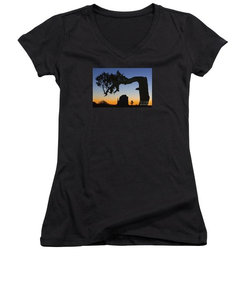 Women's V-Neck T-Shirt (Junior Cut) featuring the photograph Sunrise At East Mitten by Jerry Fornarotto