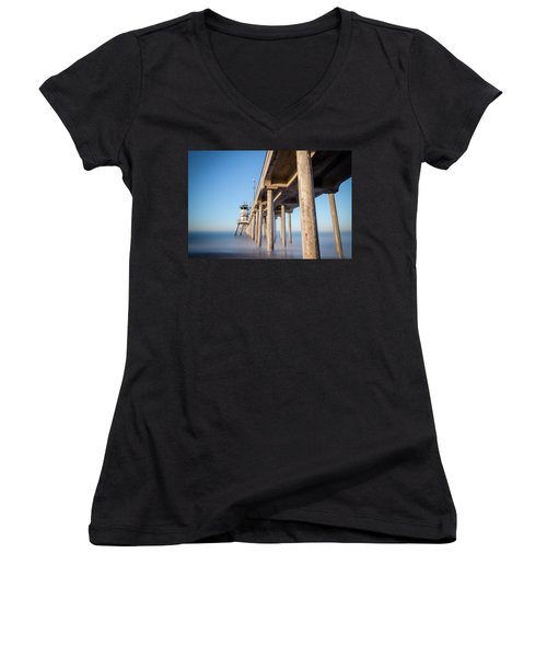 Sunrise At Huntington Beach Pier Women's V-Neck T-Shirt