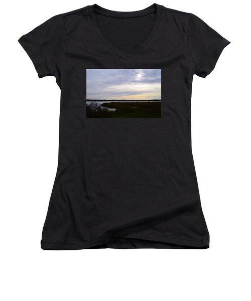 Sunrise At Orange Creek Women's V-Neck T-Shirt