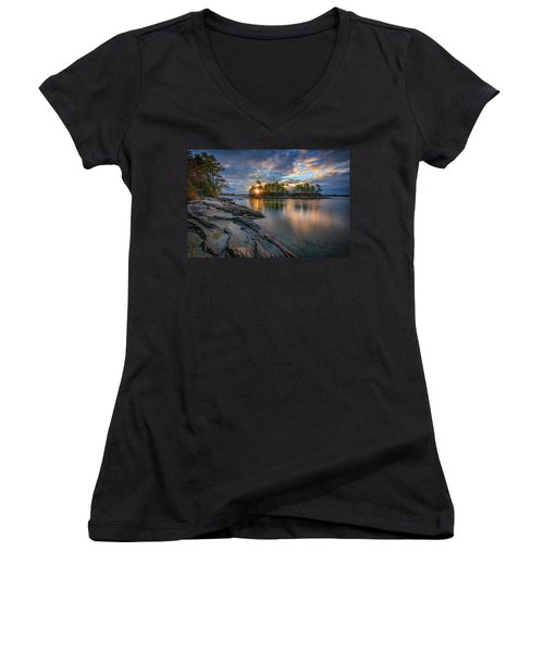 Women's V-Neck T-Shirt (Junior Cut) featuring the photograph Sunrise At Wolfe's Neck Woods by Rick Berk