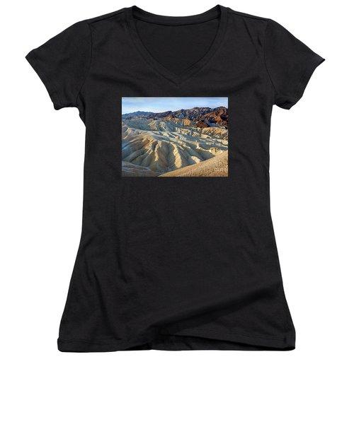 Sunrise At Zabriskie Point Women's V-Neck T-Shirt (Junior Cut) by Martin Konopacki