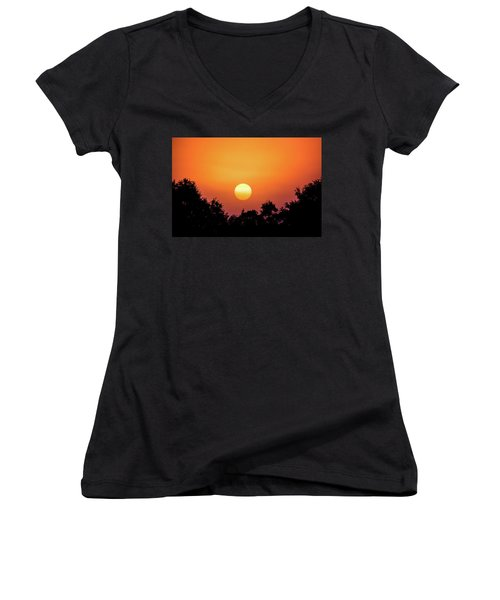 Women's V-Neck T-Shirt (Junior Cut) featuring the photograph Sunrise Bliss by Shelby Young