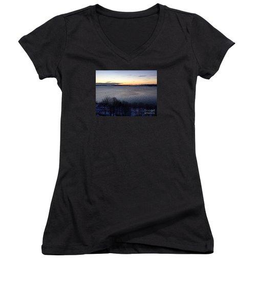 Sunrise Casco Bay January 21, 2016  Women's V-Neck T-Shirt (Junior Cut)