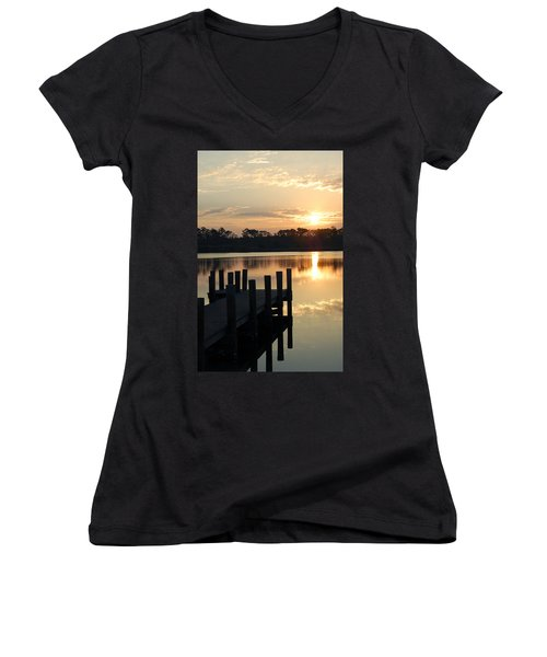 Sunrise In Grayton Beach II Women's V-Neck T-Shirt (Junior Cut) by Robert Meanor