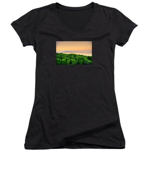 Sunrise On Maui Women's V-Neck T-Shirt (Junior Cut) by Kelly Wade