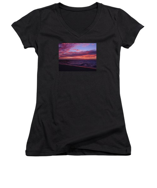 Sunrise On Sanibel Island Women's V-Neck T-Shirt