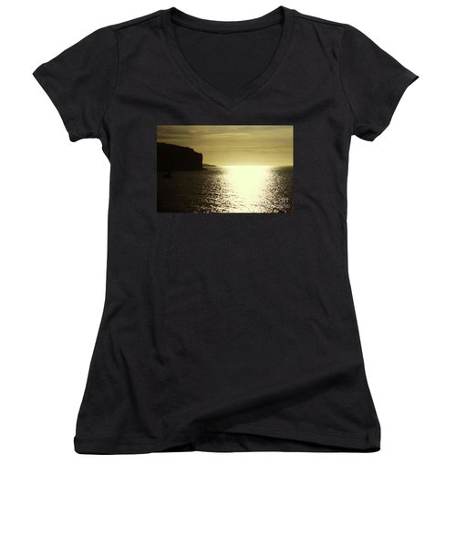 Women's V-Neck T-Shirt (Junior Cut) featuring the photograph Sunrise On The Almalfi Coast by Polly Peacock