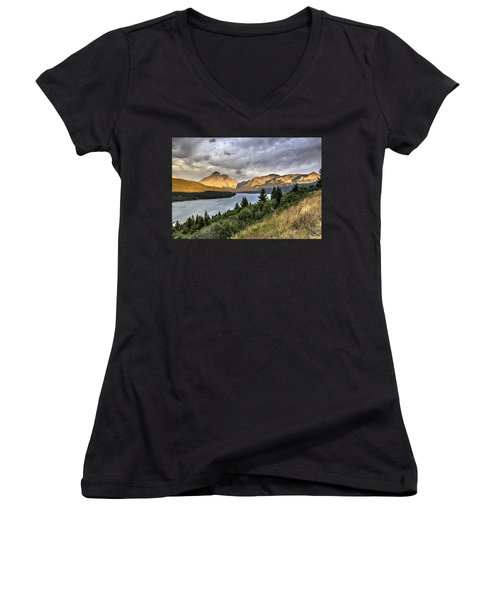 Sunrise On The Bitterroot River Women's V-Neck T-Shirt (Junior Cut) by Alan Toepfer