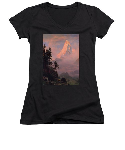 Women's V-Neck T-Shirt (Junior Cut) featuring the painting Sunrise On The Matterhorn         by Albert Bierstadt