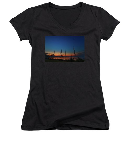 Sunrise On The Neuse 1 Women's V-Neck