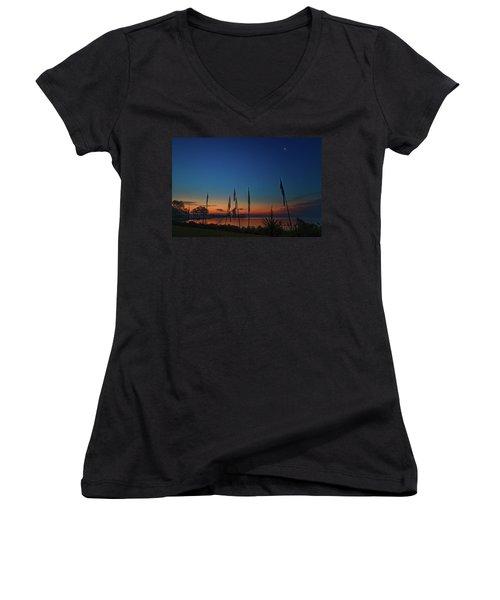 Sunrise On The Neuse 1 Women's V-Neck T-Shirt