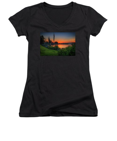 Sunrise On The Neuse 2 Women's V-Neck